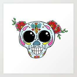 Sugar skull with flowers and bee Art Print