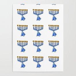 menorah 7,Hanukkah,jewish,jew,judaism,Festival of Lights,Dedication,jerusalem,lampstand,Temple, מְנו Poster