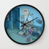dc Wall Clocks featuring DC Sleeps by kozyndan