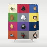starwars Shower Curtains featuring STARWARS SIMPLE by Randomleafy