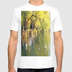 Autumn Mood at Lake MEDIUM Mens Fitted Tee White