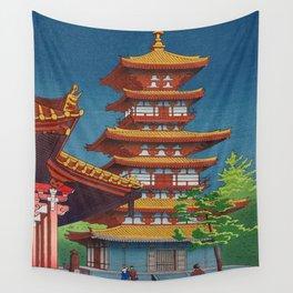 Japanese Woodblock Print Vintage Asian Art Colorful woodblock prints Pagoda Shinto Shrine Wall Tapestry