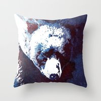 death Throw Pillows featuring Death run by Robert Farkas