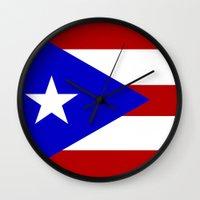 puerto rico Wall Clocks featuring puerto rico country flag star by tony tudor