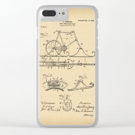 1898 Patent Bicycle Velocipede Foot propelled sled Clear iPhone Case