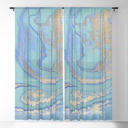 marble stone turquoise and gold Sheer Curtain