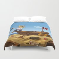 pirate ship Duvet Covers featuring Pirate by TubaTOPAL