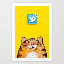 Cat love twitter bir yellow Art Print