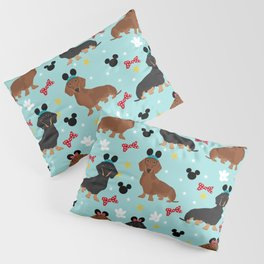 Dachshund theme park dog - black and tan and red doxies Pillow Sham