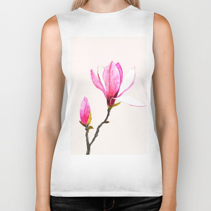 magnolia watercolor painting Biker Tank