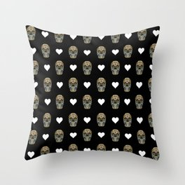 Say It with Skull and Hearts Throw Pillow
