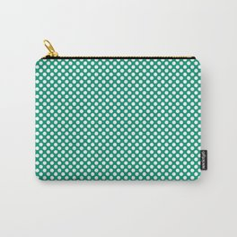 Emerald and White Polka Dots Carry-All Pouch