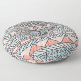 Tribal #4 (Coral/Aqua) Floor Pillow