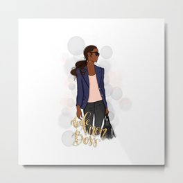 Wife Mom Boss | African American Lady Boss Metal Print