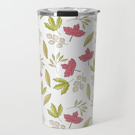Pink green ivory hand painted autumn leaves pattern Travel Mug