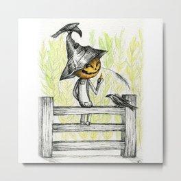 Mischievous Scarecrow Metal Print