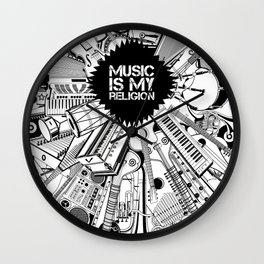 Music is my religion. Wall Clock