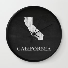 California State Map Chalk Drawing Wall Clock
