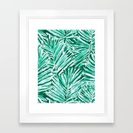 ON VACAY Green Palm Leaves Framed Art Print