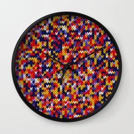 Knitted multicolor pattern 1 Wall Clock