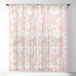 White flowers over pink Sheer Curtain