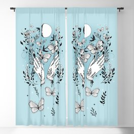 Full Moon Magic Of Nature With Blackbirds And Butterflies Blackout Curtain