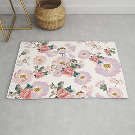Cute spring design with cosmos flowers in watercolor style Rug