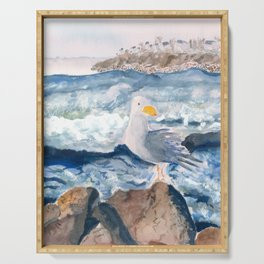 A Watercolor Seagull Named Fred (on Second Cliff in Scituate) Serving Tray