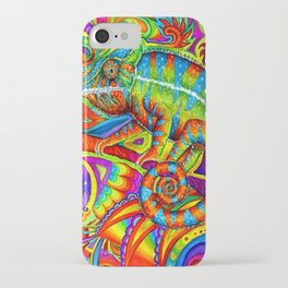 Psychedelizard Colorful Psychedelic Chameleon Rainbow Lizard iPhone Case