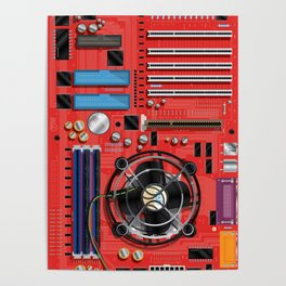 Computer Motherboard Electronics. Poster