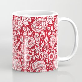 "William Morris Floral Pattern | ""Pink and Rose"" in Red and White Coffee Mug"