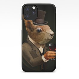 Sophisticated Pet -- Squirrel in Top Hat with glass of wine iPhone Case