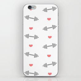 cute dumbbell pattern with hearts iPhone Skin