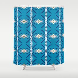 Levine deep blue and pink geo ikat Shower Curtain