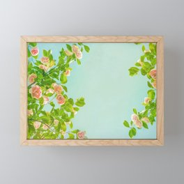 Blush Pink Camellias with Lime on Aqua Framed Mini Art Print