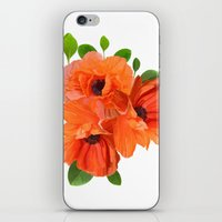 poppies iPhone & iPod Skins featuring Poppies by Heaven7
