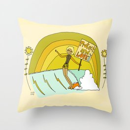 Protect and Love the Sea Lady Slider // retro surf art by surfy birdy Throw Pillow