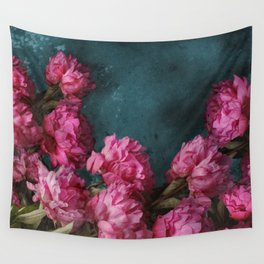 Peony Romance Teal Wall Tapestry