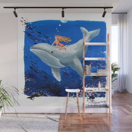 A Girl & Her Whale Wall Mural