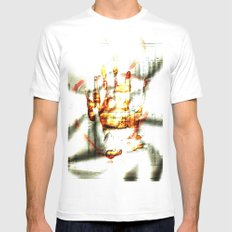 Trace of the hand White Mens Fitted Tee MEDIUM