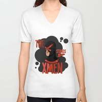 xmen V-neck T-shirts featuring The X stands 4 XMEN by JakbTIME