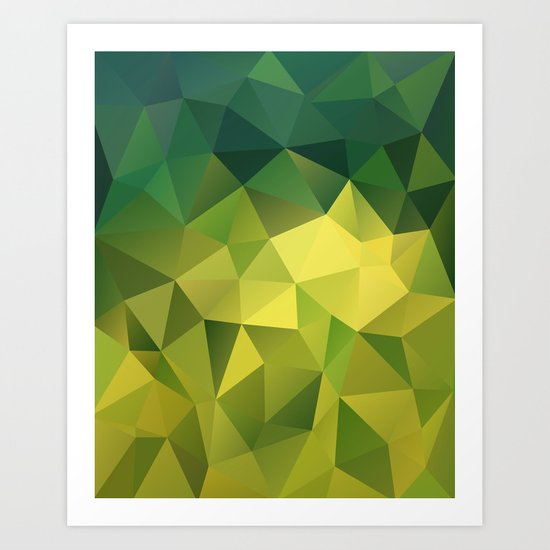 Abstract of triangles polygon in green yellow lime colors Art Print