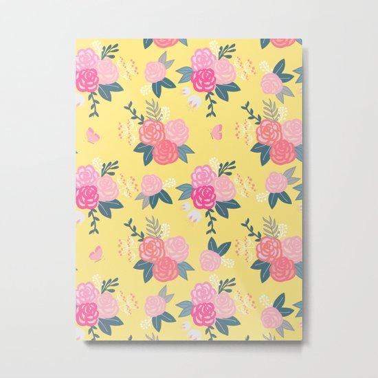 Sweet Roses on Yellow Metal Print