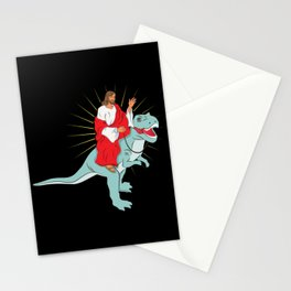 Jesus Riding A Dinosaurs Rex Gift Stationery Cards