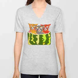 Cats in Watermelon Jacuzzi - Tropical Unisex V-Neck
