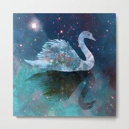 Sparkly Swan Metal Print