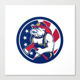 Bulldog Fireman American Flag Icon Canvas Print