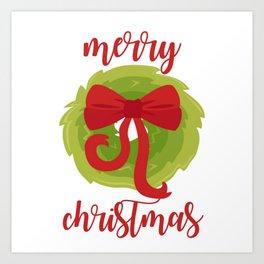 Merry Christmas Bow Wreath Print Art Print