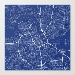 Nashville Map, USA - Blue Canvas Print