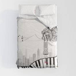Piano. Decoration. Girl. Gift. Vonyage Comforters